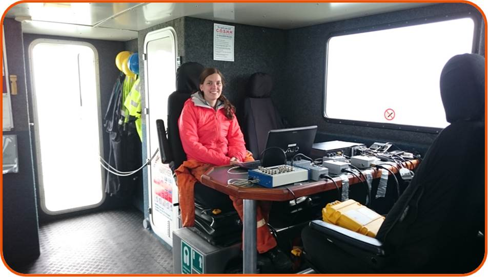 OSC Senior consultant undertaking noise measurement of wind farm pile-driving from a vessel © OSC 2015.