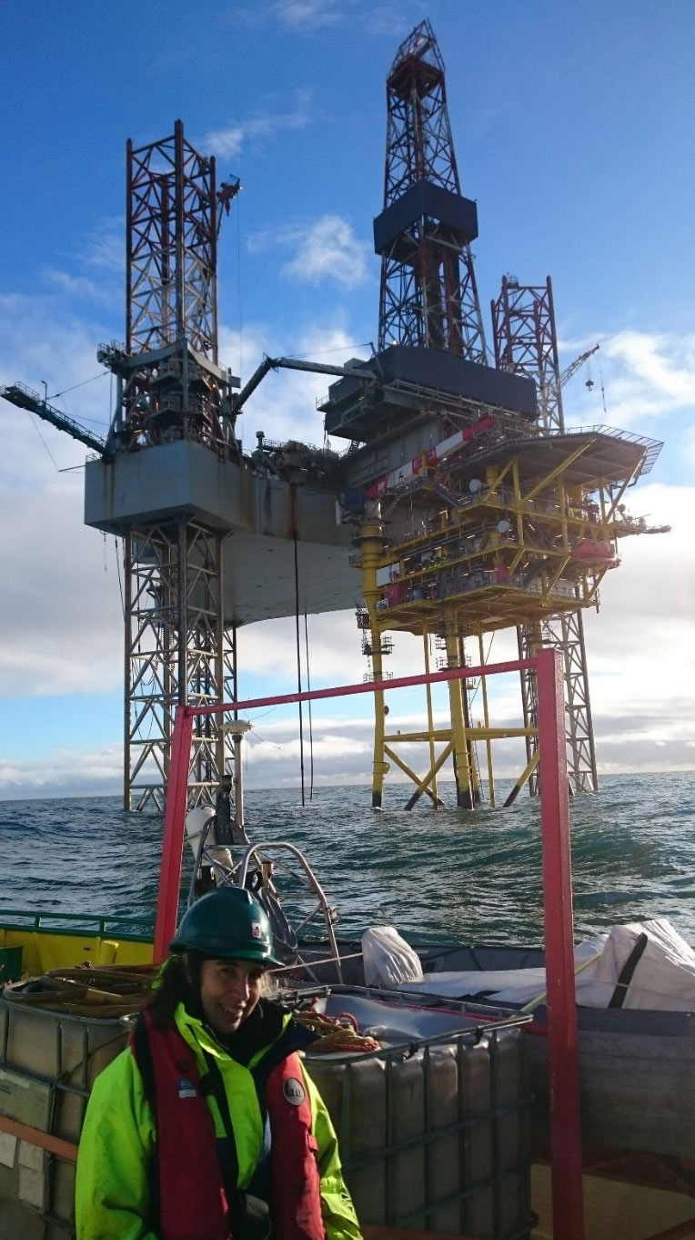 Dr. Victoria Todd within the 500-m fishing exclusion zone of an offshore O&G platform-rig complex in the North Sea. © OSC 2018.