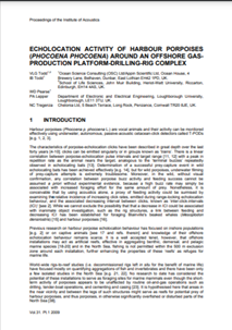 Echolocation activity of harbour porpoises (Phocoena phocoena) around an offshore gas production platform-drilling rig complex (PDF)
