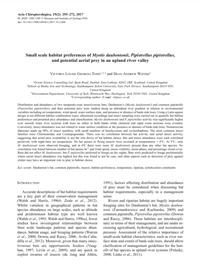 Small scale habitat preferences of Myotis daubentonii, Pipistrellus pipistrellus, and potential aerial prey in an upland river valley (PDF)