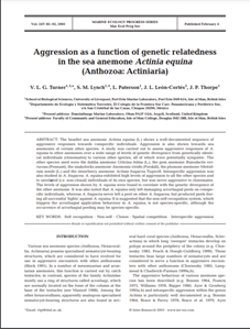 Aggression as a function of genetic relatedness in the sea anemone Actinia equina (Anthozoa: Actiniaria) (PDF)