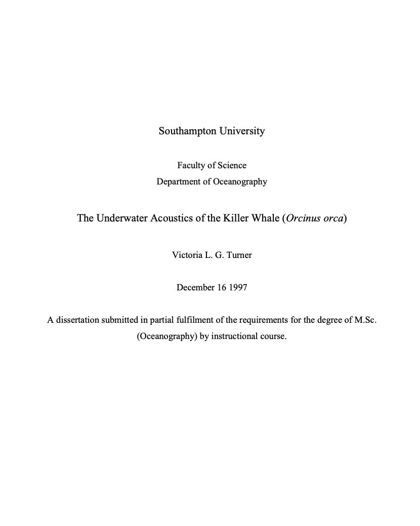 Underwater acoustics of the killer whale (Orcinus orca)